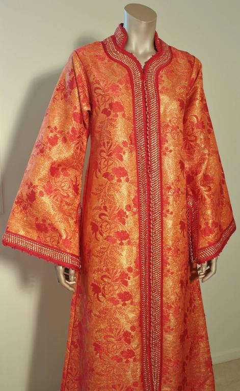 Moorish Moroccan Brocade Caftan Maxi Dress 1970 Kaftan Size S to M For Sale