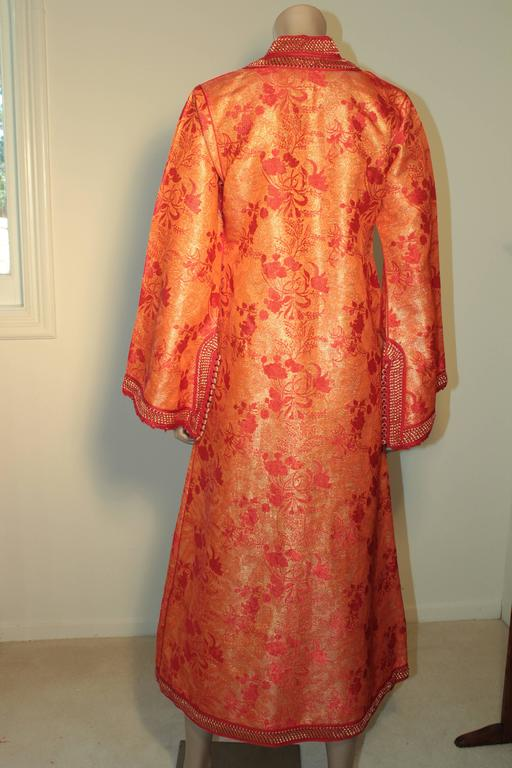 Moroccan Brocade Caftan Maxi Dress 1970 Kaftan Size S to M For Sale 1
