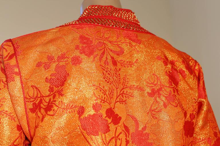 Moroccan Brocade Caftan Maxi Dress 1970 Kaftan Size S to M For Sale 2