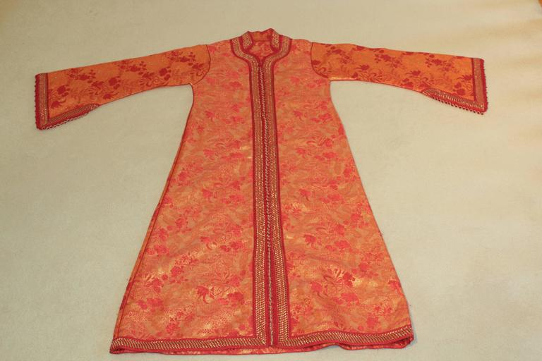 Moroccan Brocade Caftan Maxi Dress 1970 Kaftan Size S to M For Sale 4