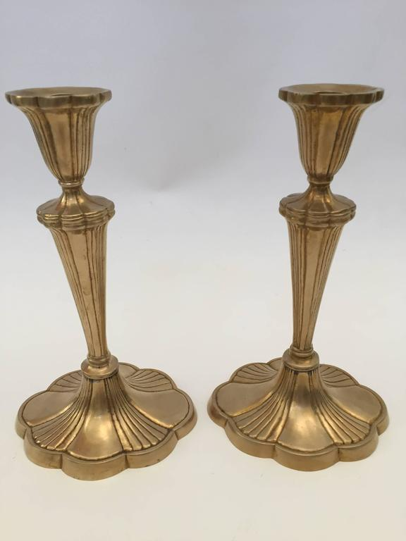 Great Art Nouveau French heavy brass pair of candlesticks Size: 10.5