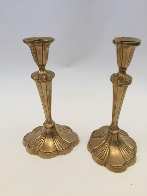 Hand-Crafted Pair of Art Nouveau Brass Candlesticks For Sale