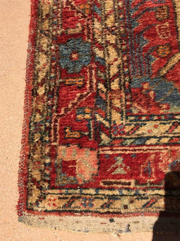 Small hand-knotted rug from Eastern Turkey, circa 1940. Size: 3ft 9 in x 6ft 5in. Traditional Turkish design and colors. Small pile rug.