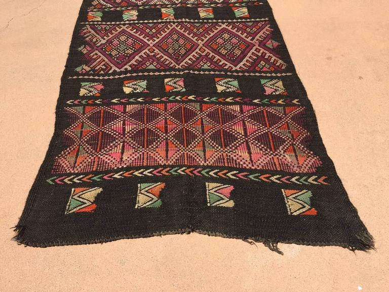 Moroccan Black Tuareg Tribal African Rug Runner At 1stdibs