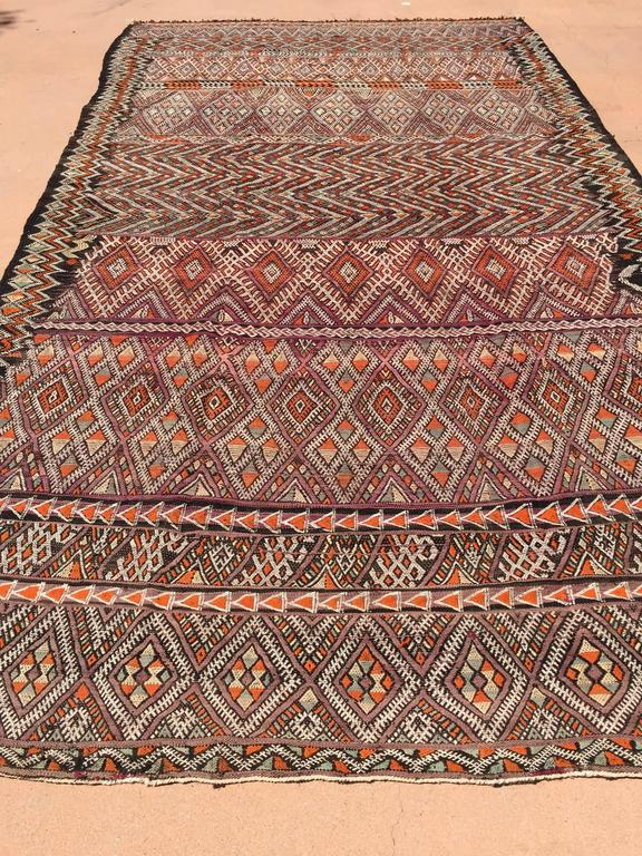 Vintage Moroccan Nomadic African Tribal Rug For Sale At