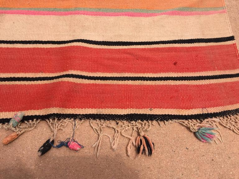 Tribal Moroccan Vintage Flat-Weave Stripe Rug For Sale