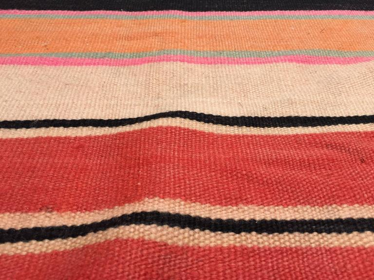 Hand-Woven Moroccan Vintage Flat-Weave Stripe Rug For Sale