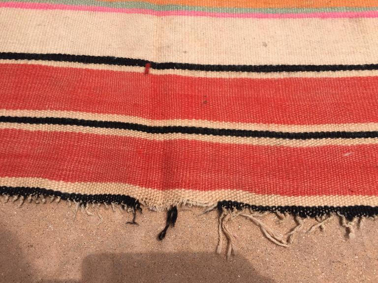 Moroccan Vintage Flat-Weave Stripe Rug In Good Condition For Sale In Los Angeles, CA