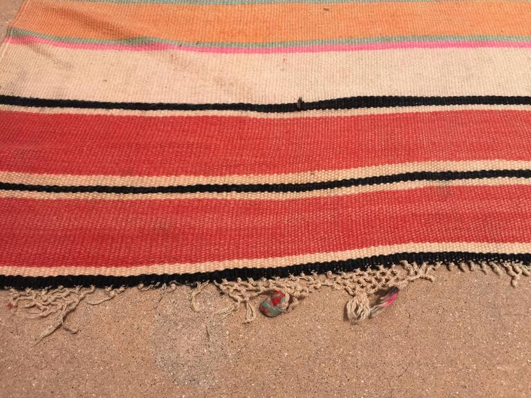 20th Century Moroccan Vintage Flat-Weave Stripe Rug For Sale