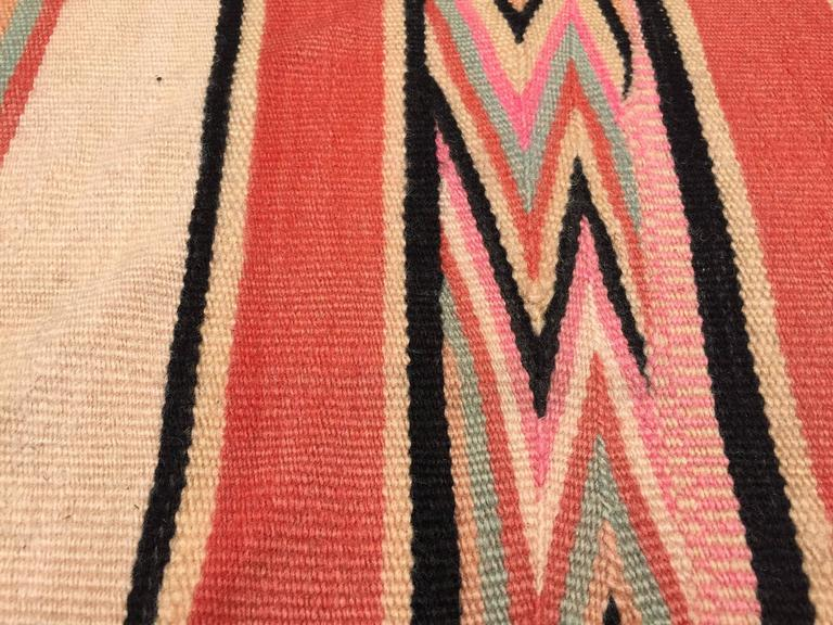 Wool Moroccan Vintage Flat-Weave Stripe Rug For Sale