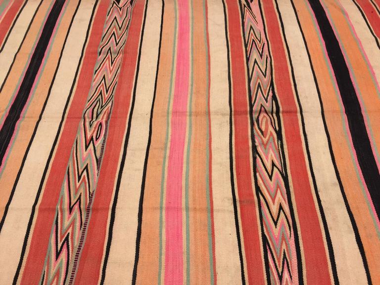 Moroccan Vintage Flat-Weave Stripe Rug For Sale 1