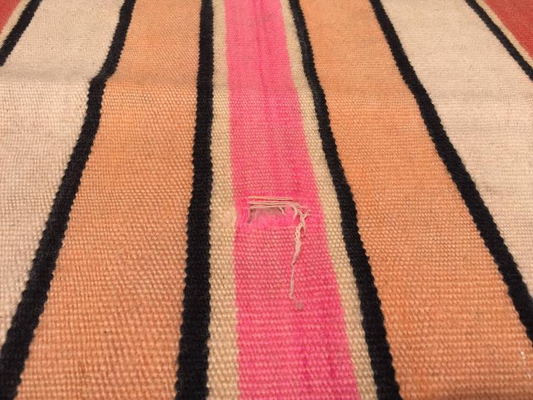 Moroccan Vintage Flat-Weave Stripe Rug For Sale 3