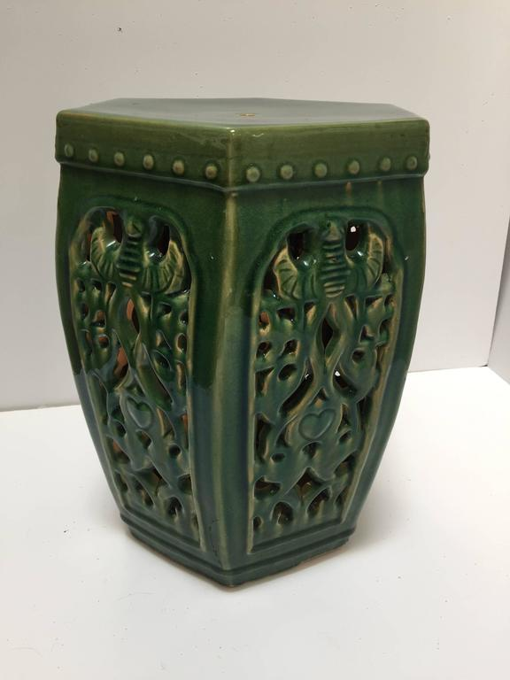 Great color, emerald green Chinese ceramic garden stool. Hexagonal shape, nicely carved on each sides. Great to use indoor or outdoor as a stool, end table, or plant stand. Light, easy to carry around.