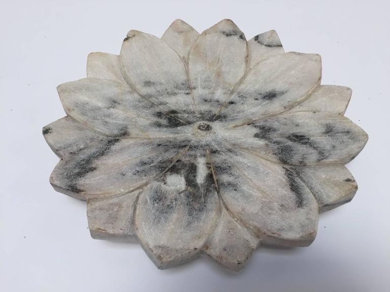 Hand-Carved Carved White Marble Lotus Flower Plate For Sale