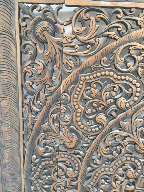 Folk Art Hand-Carved Balinese Oversized Decorative Teak Wall or Ceiling Art Panel For Sale