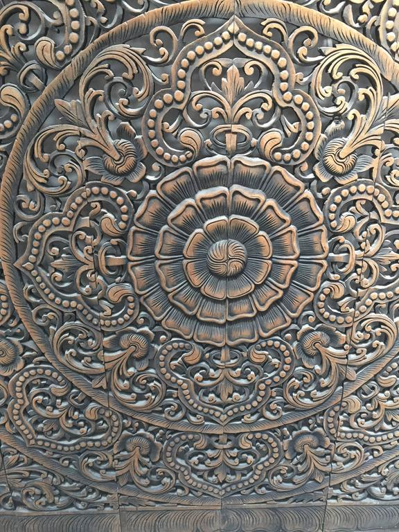 20th Century Hand-Carved Balinese Oversized Decorative Teak Wall or Ceiling Art Panel For Sale