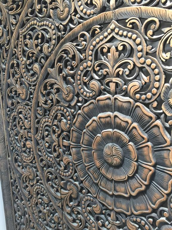 Hand-Carved Balinese Oversized Decorative Teak Wall or Ceiling Art Panel For Sale 3