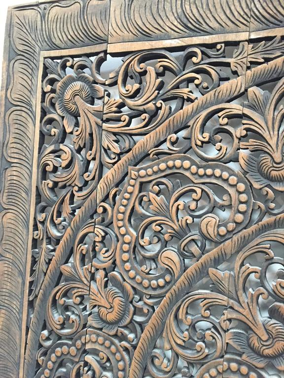 Hand-Carved Balinese Oversized Decorative Teak Wall or Ceiling Art Panel For Sale 4