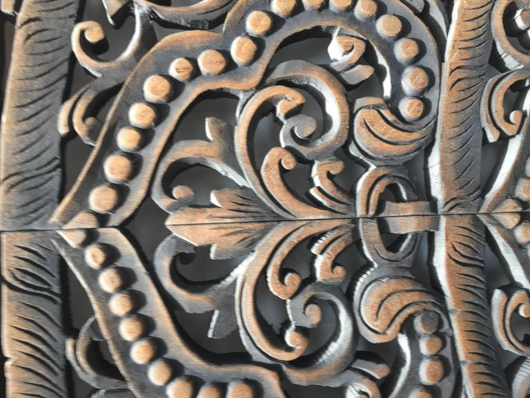 Hand-Carved Balinese Oversized Decorative Teak Wall or Ceiling Art Panel In Good Condition For Sale In Los Angeles, CA