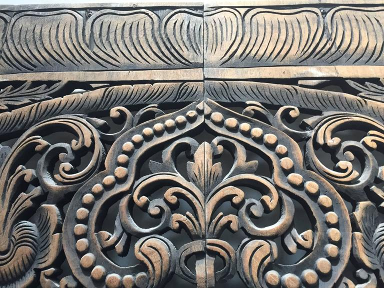 Hand-Carved Balinese Oversized Decorative Teak Wall or Ceiling Art Panel For Sale 1