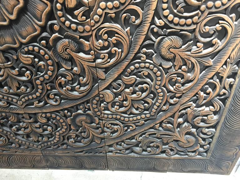 Hand-Carved Balinese Oversized Decorative Teak Wall or Ceiling Art Panel For Sale 2