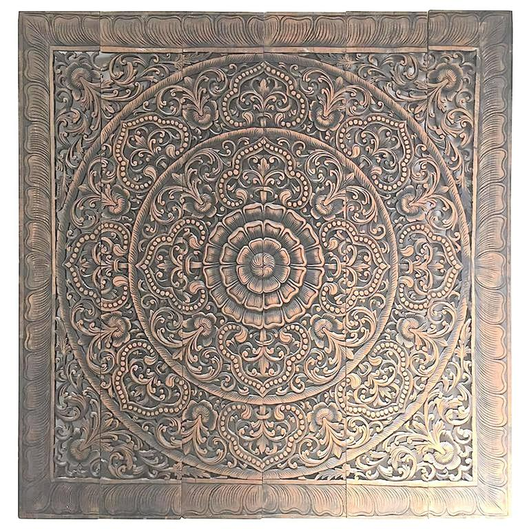 Hand-Carved Balinese Oversized Decorative Teak Wall or Ceiling Art Panel For Sale 5