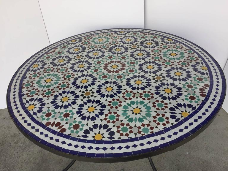 Moroccan Round Mosaic Outdoor Tile Table In Fez Moorish