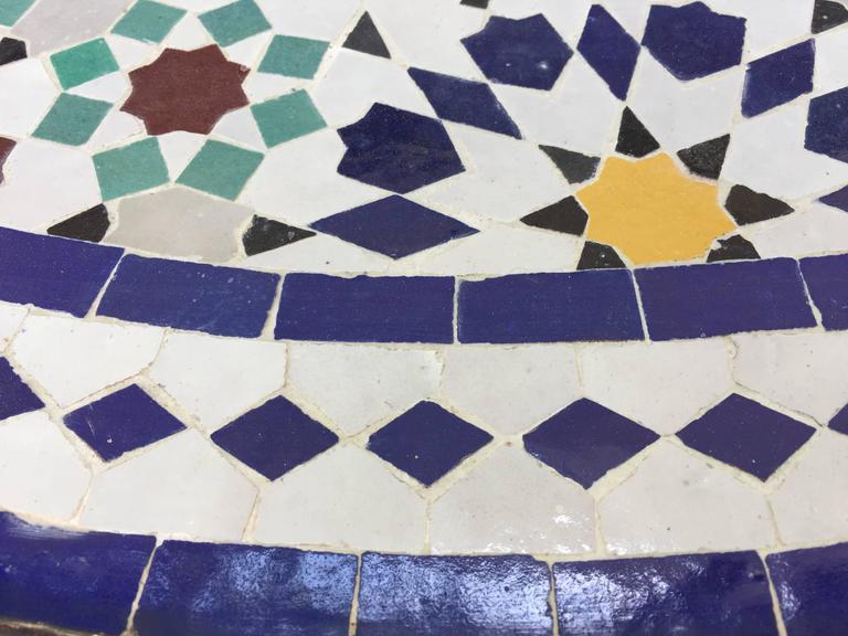 Moroccan Round Mosaic Outdoor Tile Table In Fez Moorish