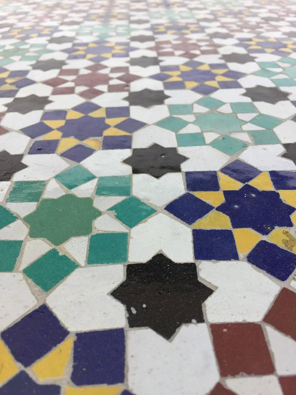 Moroccan Round Mosaic Tile Outdoor Table In Moorish Fez