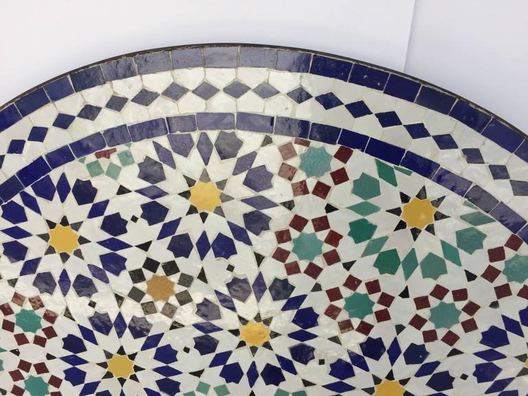 Moroccan outdoor mosaic tile table from fez in traditional for Fez tiles