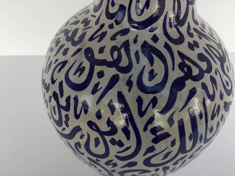 20th Century Large Moroccan Ceramic Vase from Fez with Blue Calligraphy Writing For Sale