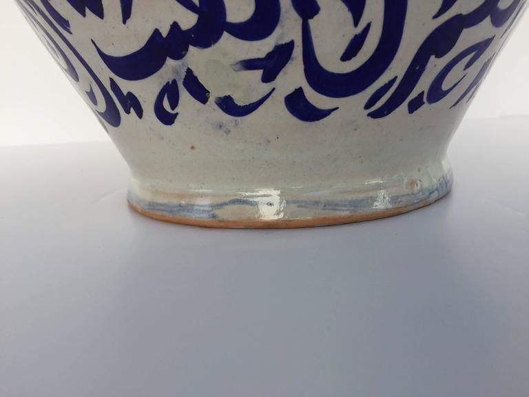 Large Moroccan Ceramic Vase from Fez with Blue Calligraphy Writing For Sale 1