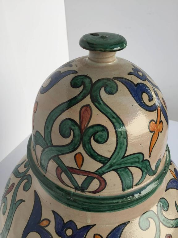 Moroccan Handcrafted Ceramic Lidded Urn from Fez with Moorish Design For Sale 3