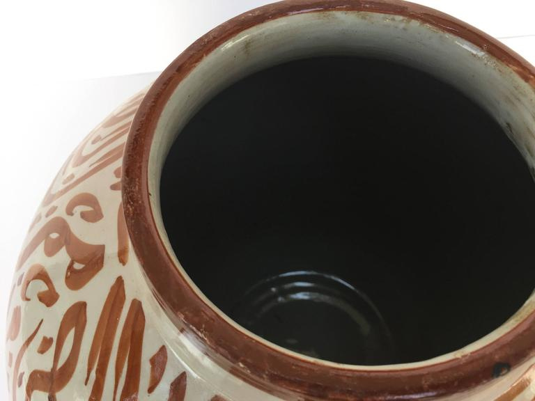 Moroccan Ceramic Lidded Urn from Fez with Arabic Calligraphy Writing For Sale 2