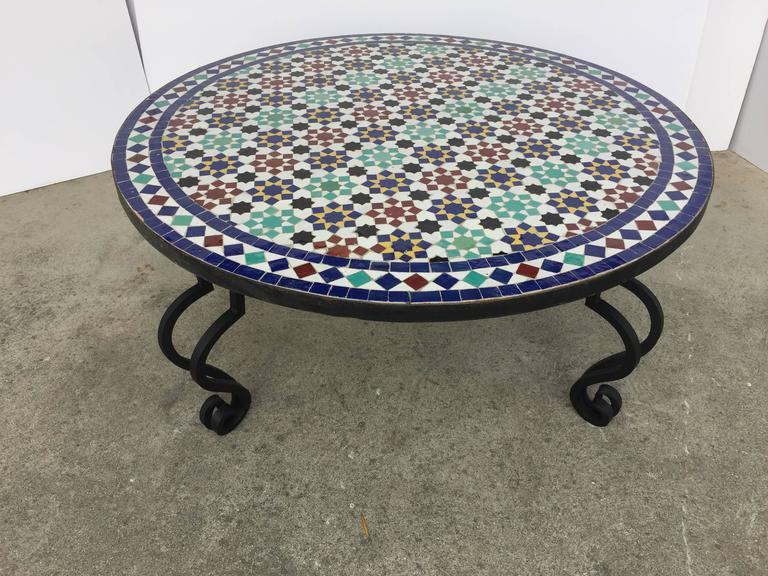 Mosaic Outdoor Round Tile Coffee Table From Morocco For Sale At Stdibs - Moroccan outdoor coffee table