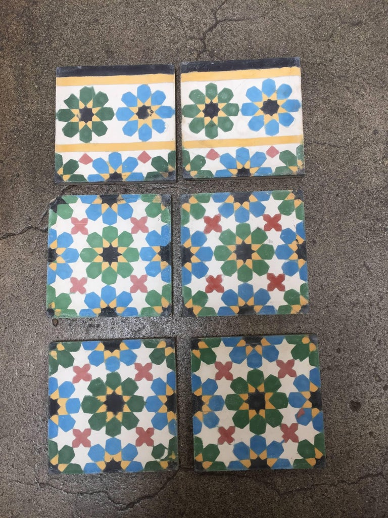 Moroccan Encaustic Cement Tile Border With Fez Design For