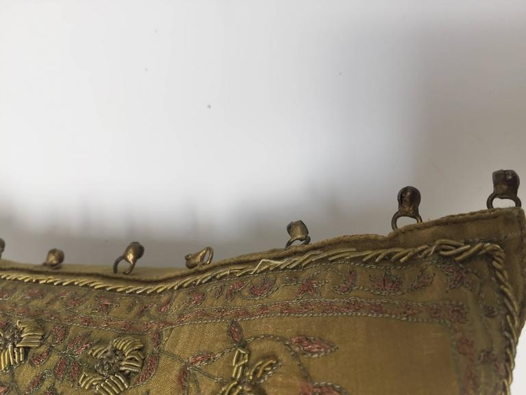 Silk Throw Pillow Embroidered with Raised Metallic Embroidery In Good Condition For Sale In Los Angeles, CA