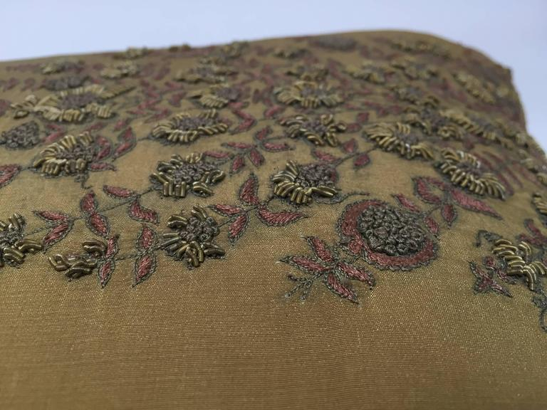 Indian Silk Throw Pillow Embroidered with Raised Metallic Embroidery For Sale