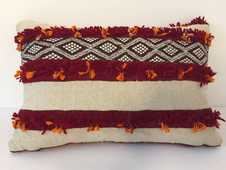 Bohemian Moroccan Berber Pillow with Tribal Designs Red and Ivory Color For Sale
