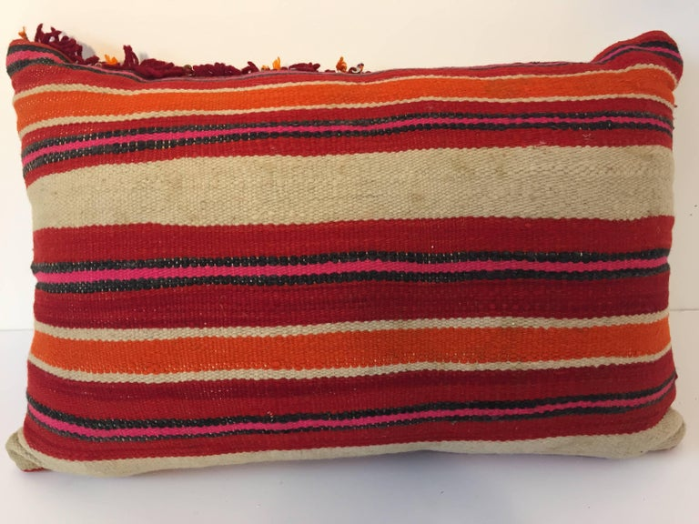 Moroccan Berber Pillow with Tribal Designs Red and Ivory Color In Good Condition For Sale In North Hollywood, CA