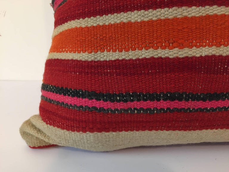 20th Century Moroccan Berber Pillow with Tribal Designs Red and Ivory Color For Sale