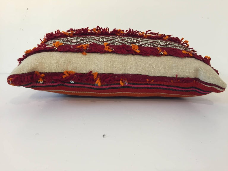 Wool Moroccan Berber Pillow with Tribal Designs Red and Ivory Color For Sale