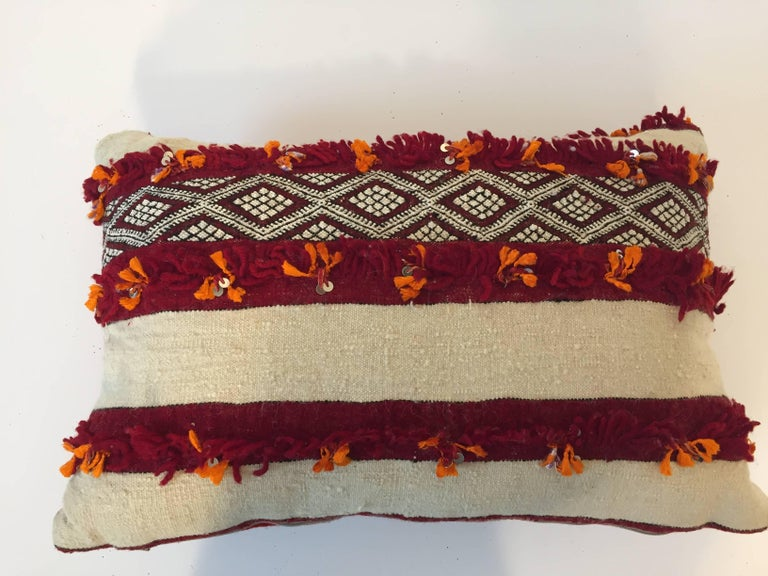 Moroccan Berber Pillow with Tribal Designs Red and Ivory Color For Sale 1