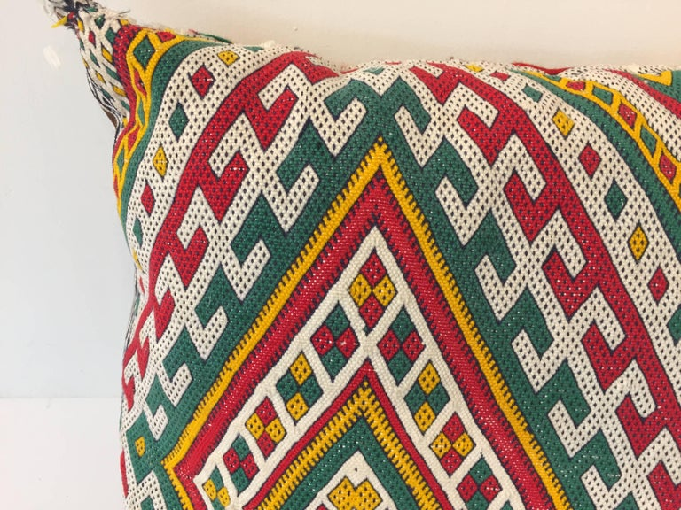 Hand-Crafted Moroccan Berber Pillow with Tribal African Designs For Sale