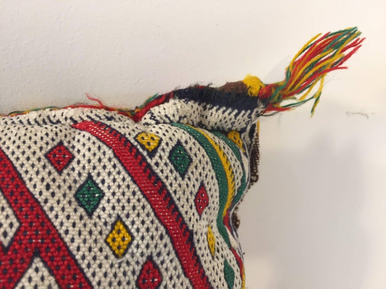 Moroccan Berber Pillow with Tribal African Designs In Good Condition For Sale In North Hollywood, CA