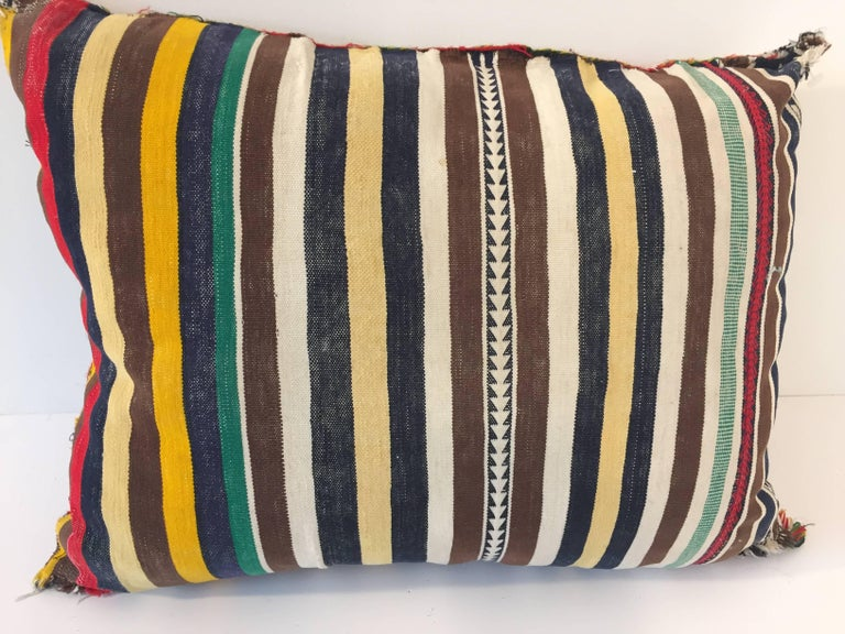 Wool Moroccan Berber Pillow with Tribal African Designs For Sale