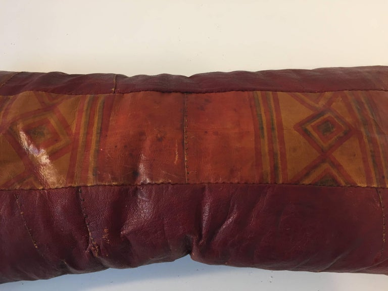 Tribal African Tuareg Leather Pillow with Fringes For Sale