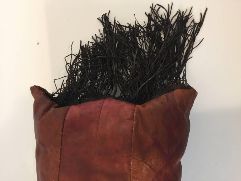 Hand-Crafted African Tuareg Leather Pillow with Fringes For Sale