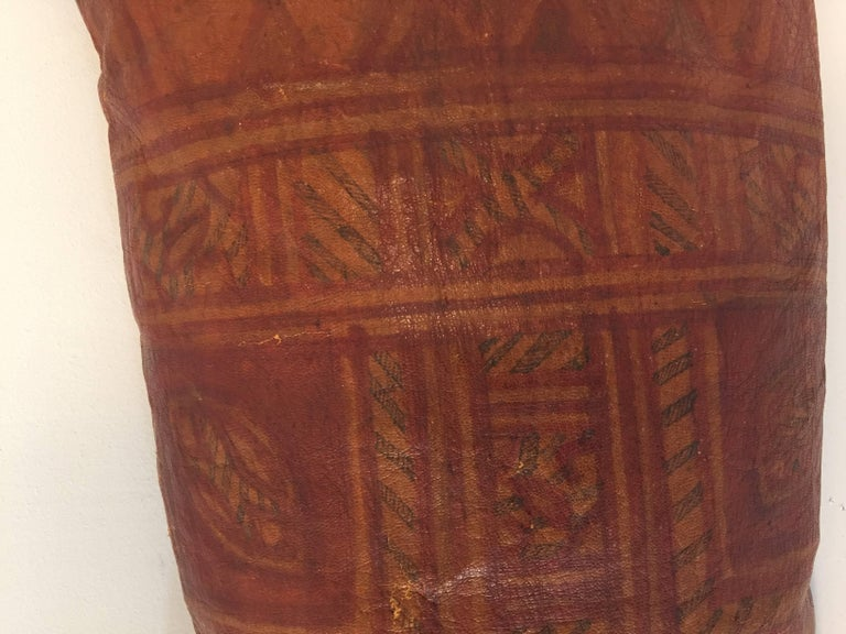 African Tuareg Leather Pillow with Fringes For Sale 1