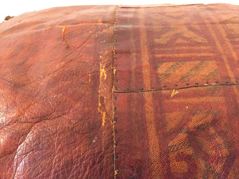 African Tuareg Leather Pillow with Fringes For Sale 4
